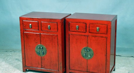 Red Night Stands with Double Drawer B5 60 x 40 x 80 Elm $575 each