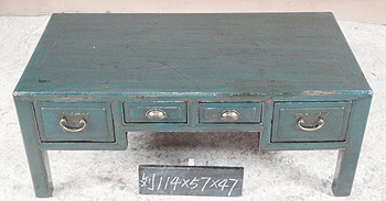 Blue Coffee Table with Drawers A017
