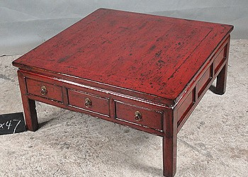 Red Coffee Table with Drawers A146